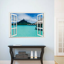 3D Romantic Island Ocean Window View Wall Sticker Decal Finish size 48*68 cm