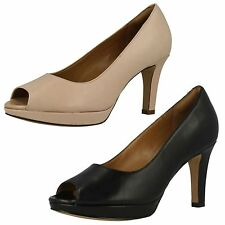 Clarks High Heel (3-4.5 in.) Peep Toes Slim Shoes for Women