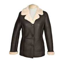 New Sheepskin Aviator Ladies Leather Coat - Rhianna - Chocolate - Size 10-20