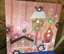 "Oopsy Daisy Bird Birdhouse Canvas Wall Art 21"" x 21"" Wall Art Girls Room Blossom"