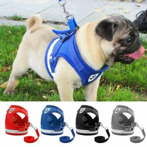 Dog Harness Small Medium Dogs Nylon Mesh Puppy Cat Vest Reflective Walking Lead