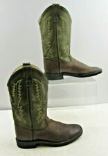 Boys Old West Leather Squared Toe Western Cowboy Boots Size: 4.5