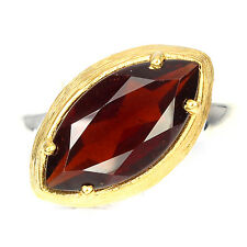Sterling Silver 925 Unique Marquise Garnet Handmade 2 Tone Ring Size R.5 (US 9)
