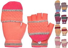 Kids Winter Convertible Knitted Fingerless Gloves with Mitten Flap Cover