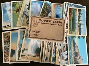 Boxes Set of Vintage Postcards Yellowstone National Party Haynes Linen 80 Cards
