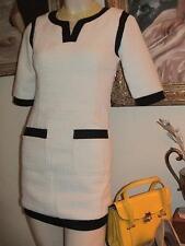 Gamiss white textured shift minidress w/ black knit half sleeve pockets XS-S NWT