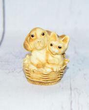 Harmony Ball Qt's Best Pals Qtpu Puppy & 2 Kittens In A Basket Figurine Nib