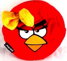 NEW! Angry Bird Female Red Bird Ruby Yellow Bow Soft Circular Pouch Zip Bag CUTE