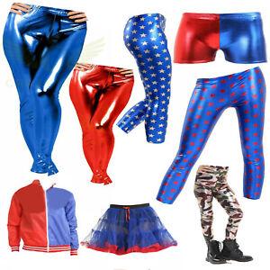 Adult Kids Girls Red & Blue Jacket Hot Pants Fancy Dress Suicide Squad Costume