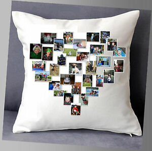 """LOVELY PERSONALISED CUSHION 16""""x16""""  PHOTO HEART COLLAGE GIFT FAMILY"""