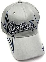 Dallas City Gray Hat Cap Script Visor Embroidered Signature Double Cowboys Star