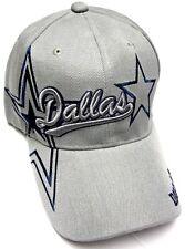 Dallas City Gray Hat Cap Script Visor Embroidered Signature Double Cowboys Star
