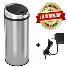 Round Automatic Touch-free Sensor Stainless Steel Trash Can13 Gallon Kitchen
