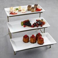 Porcelain 3 Tier Serving Tray – Rectangular Dessert Stand Serving Platter - Gold