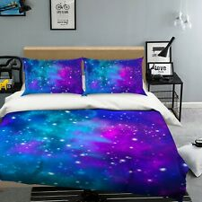 3D Purple Starry Sky Nao409 Bed Pillowcases Quilt Duvet Cover Set Queen King Fay