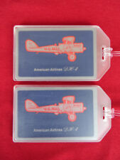 NEW AMERICAN AIRLINES LUGGAGE TAGS 2-PACK SET - BIPLANE DH-4 CLASSICS - NAME ID