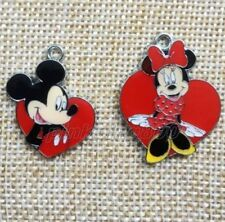 2 X MINNIE AND MICKEY MOUSE HEART ENAMEL METAL PENDANTS
