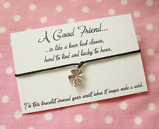 Good Friend Lucky To Have Four Leaf Clover Wish Friendship Bracelet & Envelope