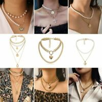 Butterfly Pearl Multilayer Choker Cross Shell Pendant Clavicle Necklace Jewelry