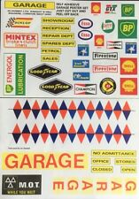 Cartel de garaje etiqueta de conjunto, casa de muñecas miniaturas, coches, signos de garaje