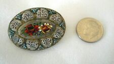 Brooch Worn Silver-plate flowers (An New listing Vintage Mosaic Italy Signed Oval