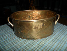 Vintage Hosley Brass Planter Can W/ Stamped Leaves & Handles