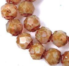 25 Czech Glass Renaissance Firepolish Beads 6mm : Milky Topaz - Picasso