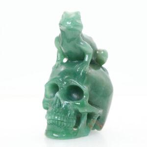 "Height 4"" 407g Green Jasper Carved Lifelike Frog Skull,realistic,crystal Healing"