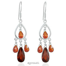 Sterling Silver Dangle Chandelier Earrings w/ Cubic Zirconia, 7 Colors Available