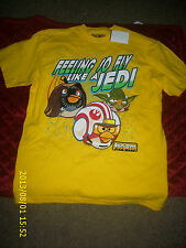 "ANGRY BIRD STAR WARS "" FEELING SO FLY LIKE A JEDI""  YELLOW T-SHIRT NEW WITH TAGS"