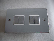 10Amp 4 Gang 2 Way Flat Plate Switch In Polished Chrome