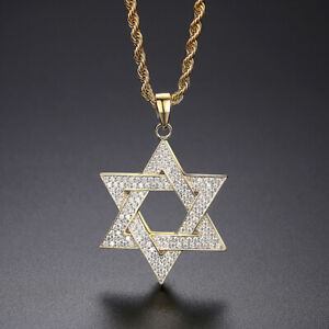 Hip Hop Full Zricon Shining Six-pointed Star Pendant Necklace Bling Gold Plated