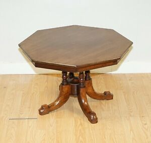 A VICTORIAN OCTAGONAL WALNUT SIDE OCCASIONAL COFFEE TABLE