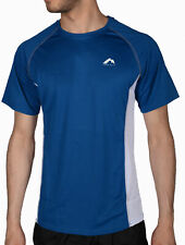 More Mile Mesh Panelled Mens Running Top Blue White Short Sleeve Run Tee XS