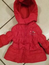 TOM&KIDDY superbe manteau avec ceinture noeud coul rouge T 9 mois comme neuf
