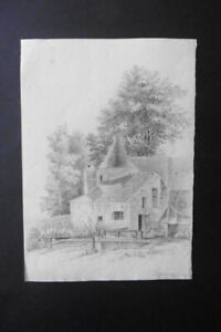 FRENCH ROMANTIC SCHOOL 1829 - VILLAGE IN WOODED LANDSCAPE NEAR PARIS - CHARCOAL