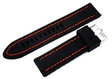 Orange Stitched 22mm Silicon Rubber Watchstrap