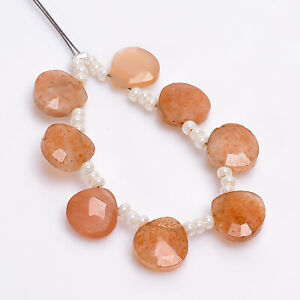 """AAA+ Natural Sunstone Heart Shape Faceted Beads 8X8X4 mm Strand 3"""" DK-5451"""
