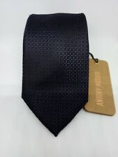 Cravatta uomo seta fantasia classica larga elegante sartoriale da 7 cm blu pois