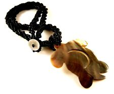 1 Black Beaded Handmade Mother of Pearl Turtle Shell Necklace Pendant - #866