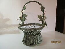 """Vintage Wicker & Chicken Wire Oval Basket-Distressed Green Finish-11.5"""" Tall"""