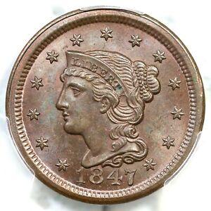 1847 N-27 R-4 PCGS MS 65 BN Braided Hair Large Cent Coin 1c