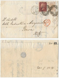 GB QV 1873 cover London to Genoa Italy 1d pl. 125 + 6d pl. 11 attractive cover