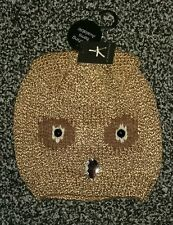 Lovely ladies brown owl knitted hat with jewel stones. bnwt NEW