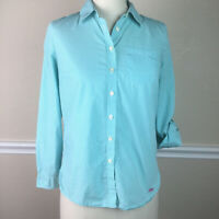 Talbots Womens Top Petites Button Front Roll Sleeve Blue Gingham Cotton Size SP