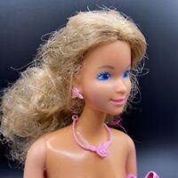 Vtg 80s Barbie Magic Curl Auburn Hair Roses Jewelry Pink Modern Dress Brush BL2