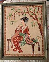 Vintage Japanese Geisha Cherry Blossom Needlepoint Sampler Mid Century Modern