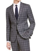 Hugo Boss Mens Suit Separate Jacket Gray Size 40 Wool Slim-Fit Plaid $445 #240
