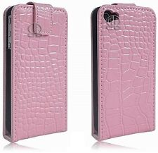 iPhone 4 4S Genuine Real Leather Crocodile Gloss Skin Luxury Flip Case Cover