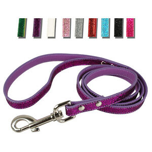 """48"""" Long Bling Sequin PU Leather Pet Dog Leash Leads for Dogs Walking Shiny"""